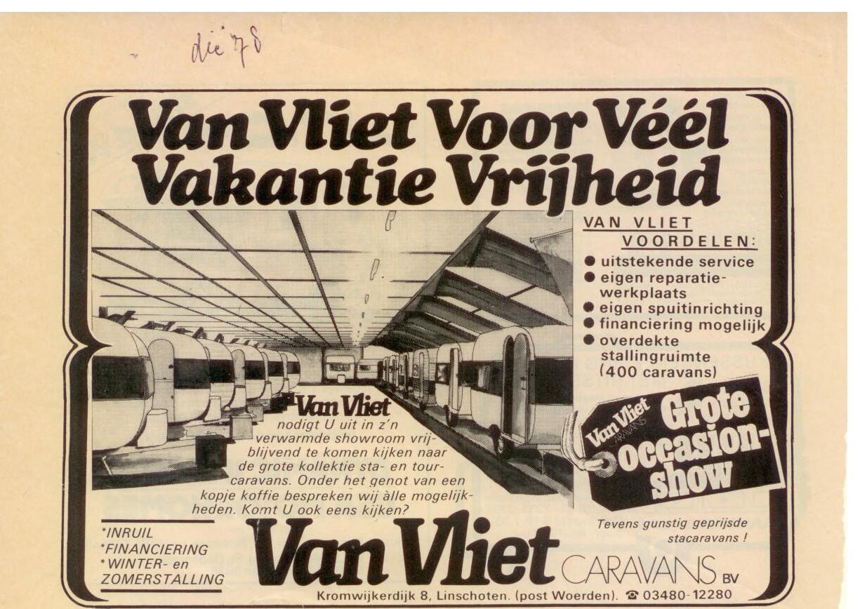 advertentie van Vliet caravans 1978